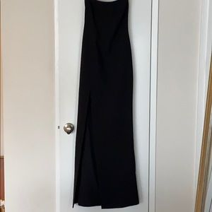 """Black Likely """"Palmer"""" column gown with side slit."""